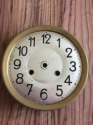 Vintage Wall Clock Face And Brass Surround Bracket
