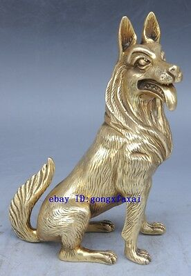 Chinese old brass carved fine lucky dog sculpture beautiful gundog Statue
