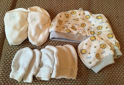 Newborn Booties, Scratch Mitts And Hat Bundle
