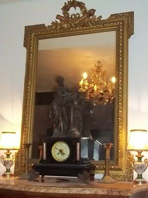 Grand Antique French Gilt Wood  Over Mantle Mirror 19 C