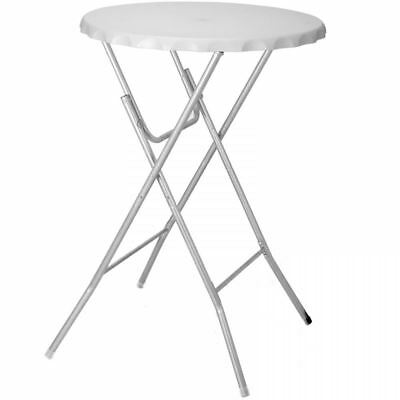 Round White Folding Bistro Table Garden Patio Foldable Bar Breakfast BBQ Dining