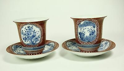 Pair antique 1800's Japanese Eggshell Porcelain Tea cups with saucers - Signed