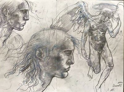 Original pencil sketch of angel by Stanislav Osinov,A3