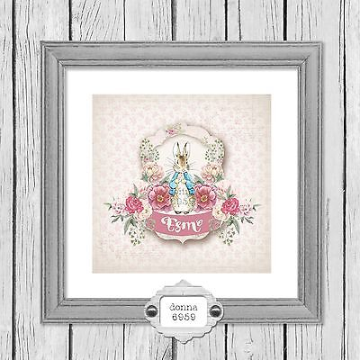 Personalised Peter Rabbit Name Print - New Baby/ Christening *Not Framed*