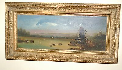 Beautiful Old Antique Oil Painting - Lake Windmill Scene