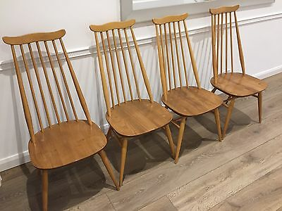 Original Ercol 70's Vintage Goldsmith Chairs Blonde Set of 4 (great condition)