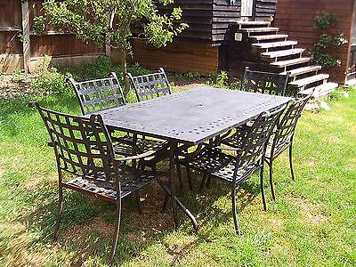 Wrought Iron Garden Table and 6 Chairs