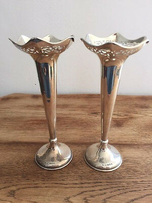 A Pair of Antique Hallmarked Silver Candle Sticks/Vases with Latticed  Rims
