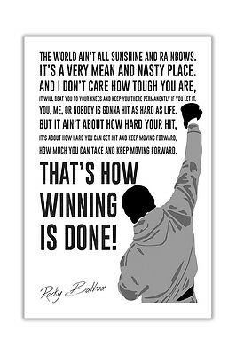 Famous Movie Quote By Rocky Balboa Wall Poster Prints Film Gloss Pictures