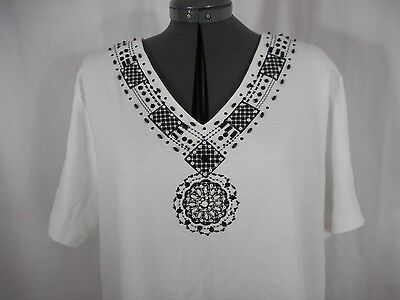 Alfred Dunner Casual Black & White Short Sleeve V-Neck Tunic Top Size 1X