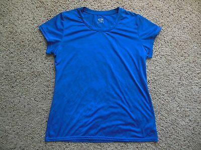 CHAMPION Women's SHIRT Running Athletic size Large Blue short sleeve loose fit
