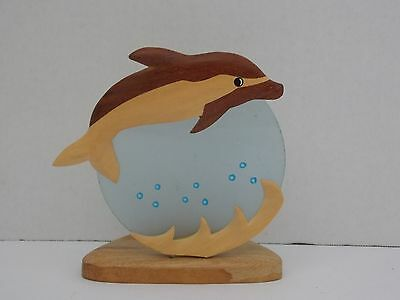 Dolphin Tea Light Candle Holder ~ Wood & Glass
