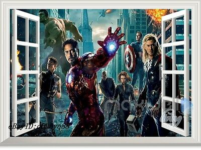 Iron man Avengers Super hero 3D Window  Wall decor Removable Sticker Kids Decor