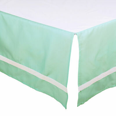 Mint Green Tailored Crib Dust Ruffle with White Stripe by The Peanut Shell