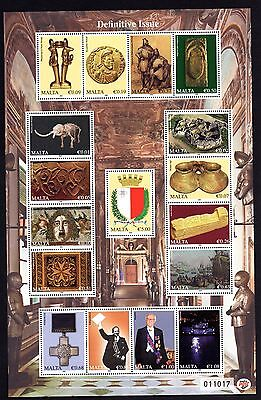 2009 History of Malta Definitives Sheet 17v SG MS1655 SG1638 - 54 Unmounted Mint