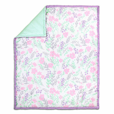 Pink and Mint Green Floral and Dot Cotton Baby Crib Quilt by The Peanut Shell