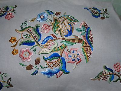 Vintage crewel work embroidered panel, embroidery leaves & flowers