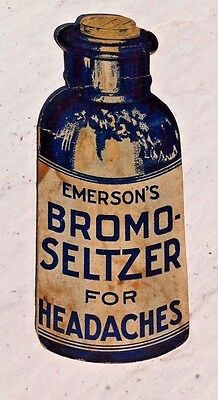 Vintage Die-Cut Emerson's Bromo Seltzer Needle Pin Give Away Case Bottle Shape