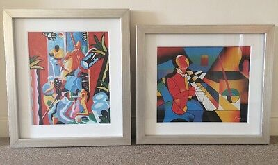 2 x Large Oil on canvas FRAMED Modern Abstract Prints Jazz Club & Piano Player