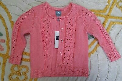 NEW Baby Gap Girl Knit Pink Cardigan Sweater Jacket 100% Cotton 12-18 mos Tags