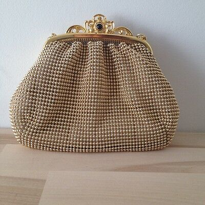Vintage Whiting Davis Gold Beaded Mesh Evening Purse Shoulder Clutch Small Forma