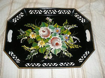 Vintage Large Black with Hand Painted Flowers Toleware Tray 18.5 x 13.5 x 1.5 in