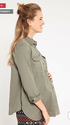 New Look Khaki Maternity Shirt Size 10❤️ Rrp-£27.99
