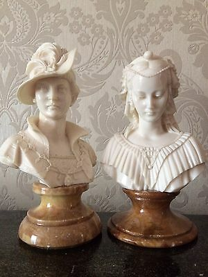 Stunning Vintage Antique Pair Marble Alabaster Busts Angelica Maria Renaissance
