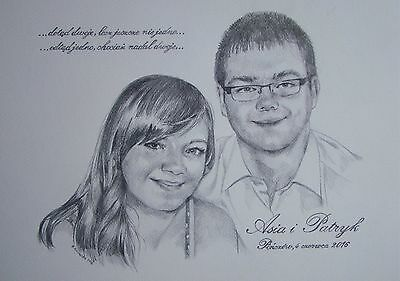 Custom portrait from photo- pencil A3 gift wedding anniversary 2 person