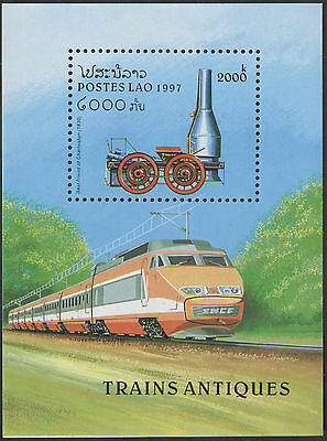 LAOS Bloc N°136 ** Bf train, locomotive à vapeur, 1997,  Miniature Sheet MNH