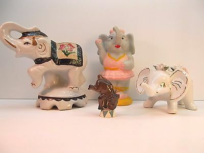 Vintage Elephant Figurines Ceramic / Porcelain Lot of 4 one is a bank