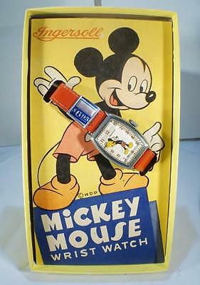 NEW VINTAGE 1940's INGERSOLL MENS MICKEY MOUSE MECHANICAL WATCH IN ORIGINAL BOX
