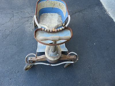 taylor tot 1940s blue stroller vintage metal  toy walker blue