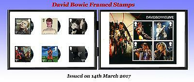 """David Bowie Framed Unused Stamps in a Double  6""""x4"""" Black Metal Photo Frame"""
