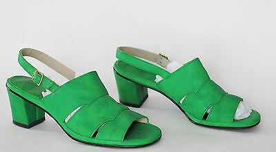 Women's Vintage 60s 70s Sandals Green Air Step Faux Leather Open Toe Shoes 9 N
