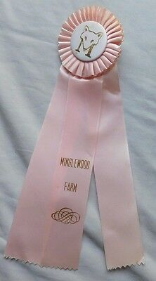 Vintage Horse Show Ribbon Horse Badge -- Minglewood Farm Pink
