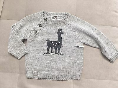 Tea Collection Boys Sweater Size 18-24 Month  Gray With Camel Soft Warm