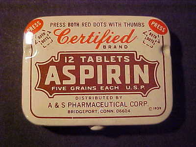 vintage Certified aspirin tin Bridgeport, Conn.