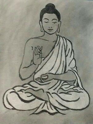 Charcoal Drawing of a BUDDHA: Original Art