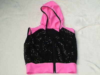 Weissman Dance Costume Sequined Black Pink Hoodie Size Child's Large LC