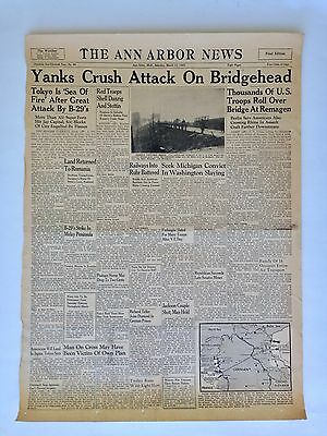 "The Ann Arbor News Front Page March 10, 1945 Newspaper WW2 Ephemera 16"" x 23"""