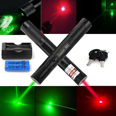 Power Military 5mw Green*Red Laser Pointer Pen Visible Light +18650 +Charger USA