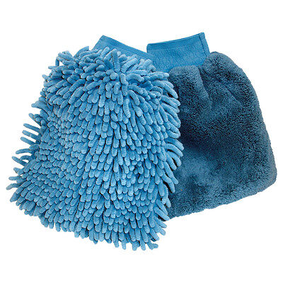 Oxford Wash & Wax Motorcycle Motorbike Cleaning & Polishing Mitts Blue