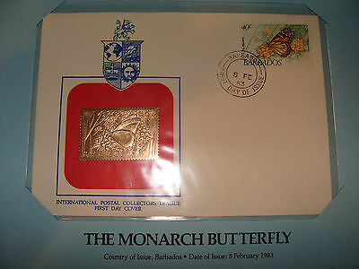 Barbados  FDC w/ 23 kt gold replica Stamp 1983 Monarch Butterfly