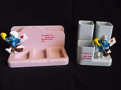 Smurf Lot ~ Matching Pencil Holder & Desk Set ~ Schleich ~ Made in Germany ~1983
