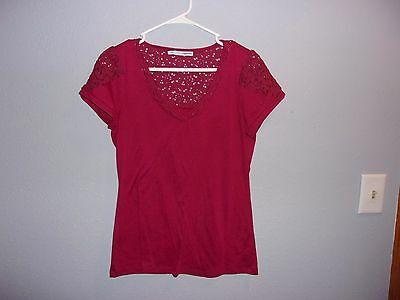 Women's short sleeve top.Maurices.Size L.Red. Solid. Cotton blend
