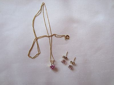 9ct. Yellow Gold dainty Pendant necklace & matching Earrings with pink stones.