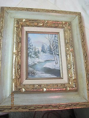 Vintage Oil on Canvas Original Art Work Winter Mountain Stream Keeta Middleton