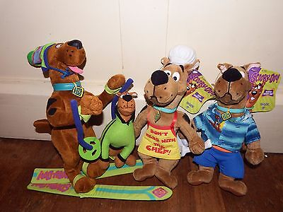 Bundle joblot 4 Scooby Doo dressed up soft plush figure toy Chef Skiing Surfer