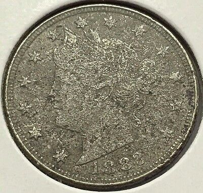 1883 Liberty V Nickel W Cents Porous U.s. Coin * Free Bubble Ship & Tracking